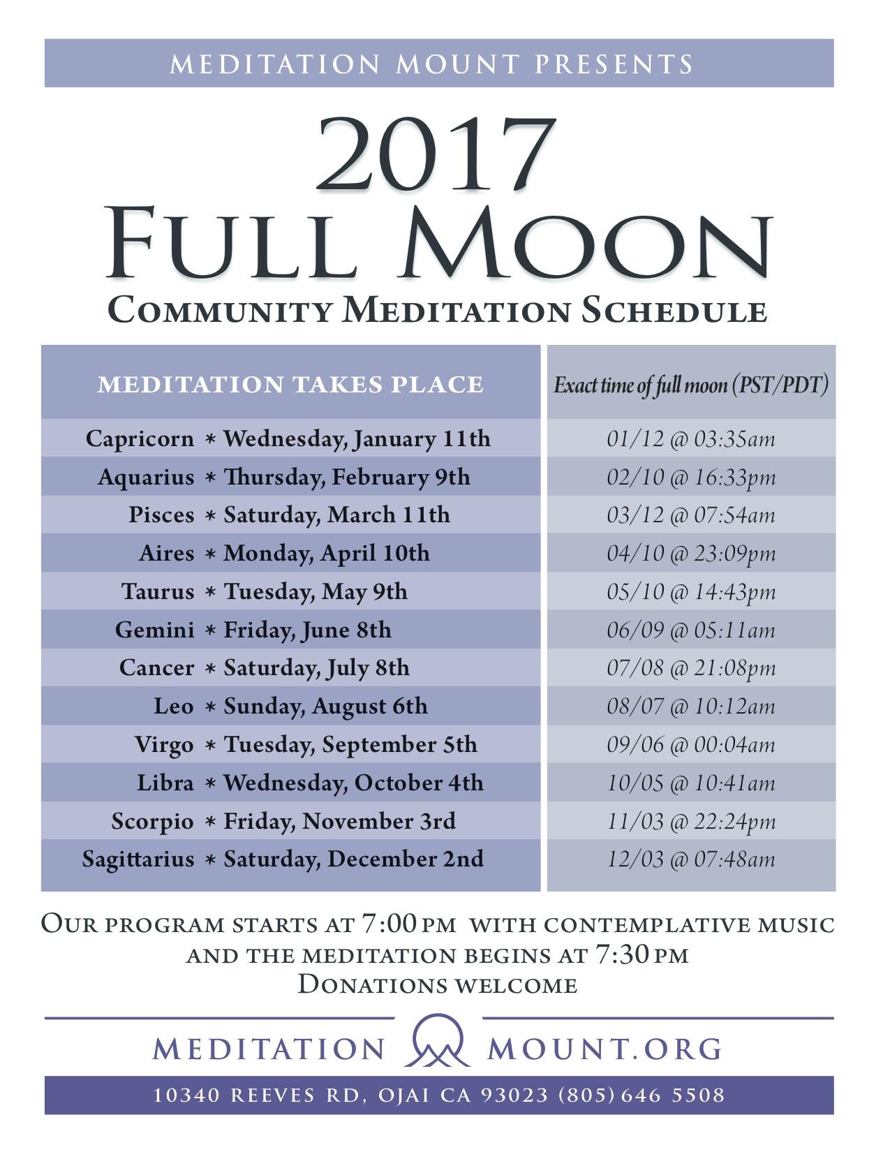 2017 Full Moon Schedule Meditation Mount